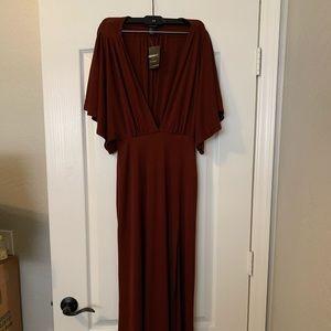 Burgundy Deep V Slit Dress Dress